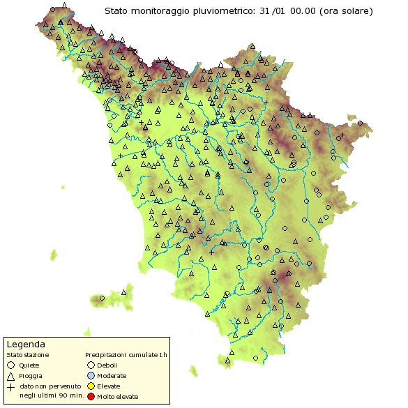 Situazione pluviometrica in Toscana